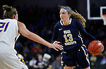 SIOUX FALLS, SD: MARCH 5: Rachel Skalnik #13 of Oral Roberts looks past South Dakota State defender Clarissa Over #21 during the Summit League Basketball Championship on March 5, 2017 at the Denny Sanford Premier Center in Sioux Falls, SD. (Photo by Dick Carlson/Inertia)