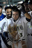 Second baseman Blake Tiberi (3) of the Columbia Fireflies is greeted in the dugout after hitting a home run in a game against the Augusta GreenJackets on Opening Day, Thursday, April 5, 2018, at Spirit Communications Park in Columbia, South Carolina. Columbia won, 4-2. (Tom Priddy/Four Seam Images