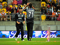 Colin de Grandhomme congratulates Kane Williamson (left) on his runout of James Vince during the International Twenty20 cricket match between the NZ Black Caps and England at Westpac Stadium in Wellington, New Zealand on Tuesday, 13 February 2018. Photo: Dave Lintott / lintottphoto.co.nz