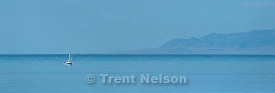 Sailboat on the Great Salt Lake.<br />