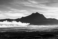 Black and white photo of Sincholagua Volcano at sunrise, Cotopaxi Province, Ecuador