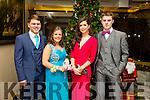 Enjoying the Gaelcholáiste Chiarraí Debs ball at the Brandon Hotel on Saturday were l-r  Proinmsias O Catasaigh, Alanah Kissane, Sarah Lenihan and Darragh O'Connor.