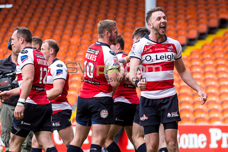 Picture by Alex Whitehead/SWpix.com - 24/05/2015 - Rugby League - Kingstone Press Championship Summer Bash - Leigh Centurions v Featherstone Rovers - Bloomfield Road, Blackpool, England - Leigh's Ryan Brierley celebrates.