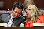 Nevada Sens. Ruben Kihuen, D-Las Vegas, and Patricia Farley, R-Las Vegas, work in committee at the Legislative Building in Carson City, Nev., on Wednesday, May 27, 2015. <br /> Photo by Cathleen Allison