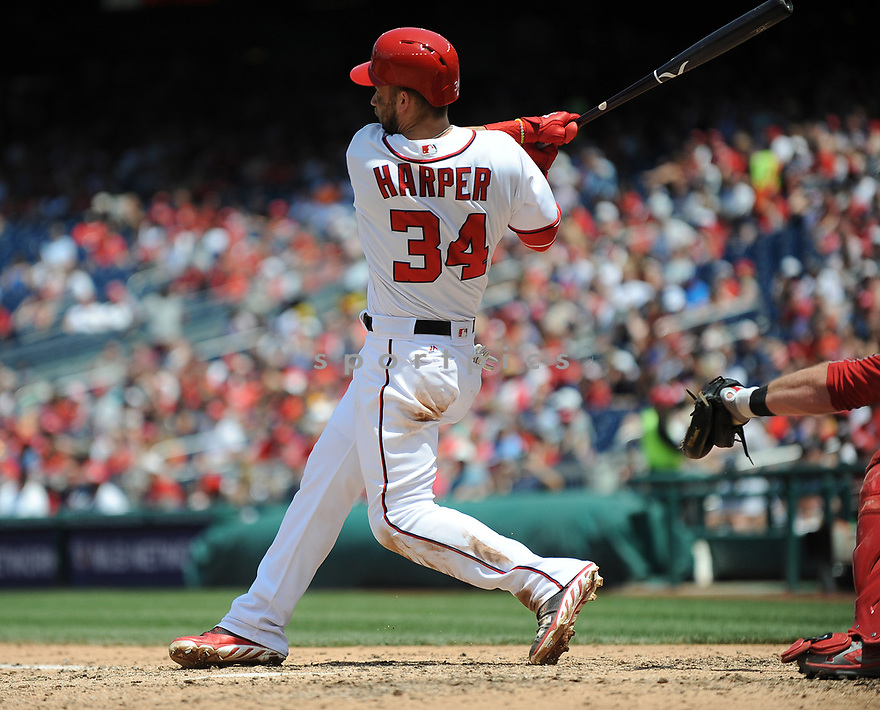 Washington Nationals Bryce Harper (34) during a game against the Philadelphia Phillies on June 11, 2016 at Nationals Park in Washington, DC. The Nationals beat the Phillies 8-0.