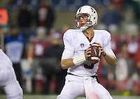 SEATTLE, WA - September 28, 2013: Stanford quarterback Evan Crower looks to pass the ball during play against Washington State at CenturyLink Field. Stanford won 55-17.