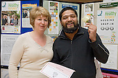 Karen Buck MP and a health trainee at a Healthy Futures event at the Beethoven Centre, Queens Park