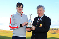 John White (Chairman GUI Ulster) presents the Trophy to Thomas Higgins (Roscommon) winner of the Ulster Boys Championship at Portrush Golf Club, Valley Links, Portrush, Co. Antrim on Thursday 1st Nov 2018.<br /> Picture:  Thos Caffrey / www.golffile.ie<br /> <br /> All photo usage must carry mandatory copyright credit (&copy; Golffile | Thos Caffrey)