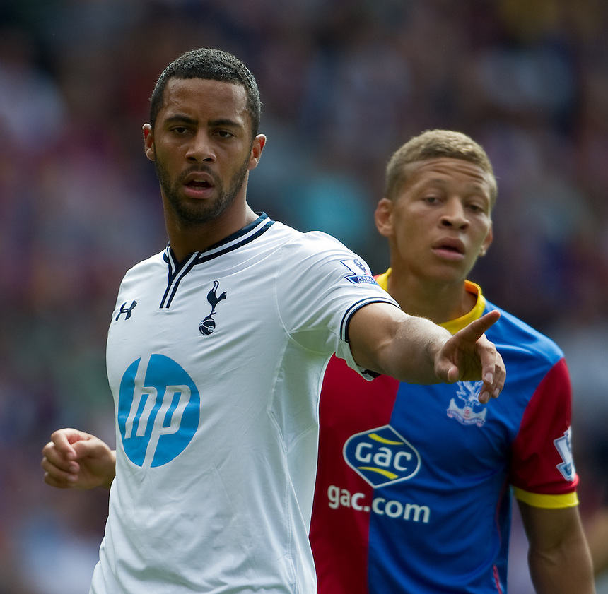 Tottenham Hotspur's Mousa Dembele and Crystal Palace's Dwight Gayle<br /> <br />  (Photo by Ashley Western/CameraSport) <br /> <br /> Football - Barclays Premiership - Crystal Palace v Tottenham Hotspur - Sunday 17th August 2013 - Selhurst Park - London<br /> <br /> &copy; CameraSport - 43 Linden Ave. Countesthorpe. Leicester. England. LE8 5PG - Tel: +44 (0) 116 277 4147 - admin@camerasport.com - www.camerasport.com