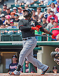 19 March 2015: Miami Marlins outfielder Marcell Ozuna in Spring Training action against the Atlanta Braves at Champion Stadium in the ESPN Wide World of Sports Complex in Kissimmee, Florida. The Braves defeated the Marlins 6-3 in Grapefruit League play. Mandatory Credit: Ed Wolfstein Photo *** RAW (NEF) Image File Available ***