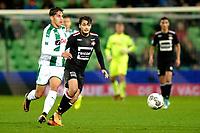 GRONINGEN - Voetbal, FC Groningen - Willem II,  Eredivisie , Noordlease stadion, seizoen 2017-2018, 20-10-2017,   Ludovic Reis met Willem II speler Fran Sol
