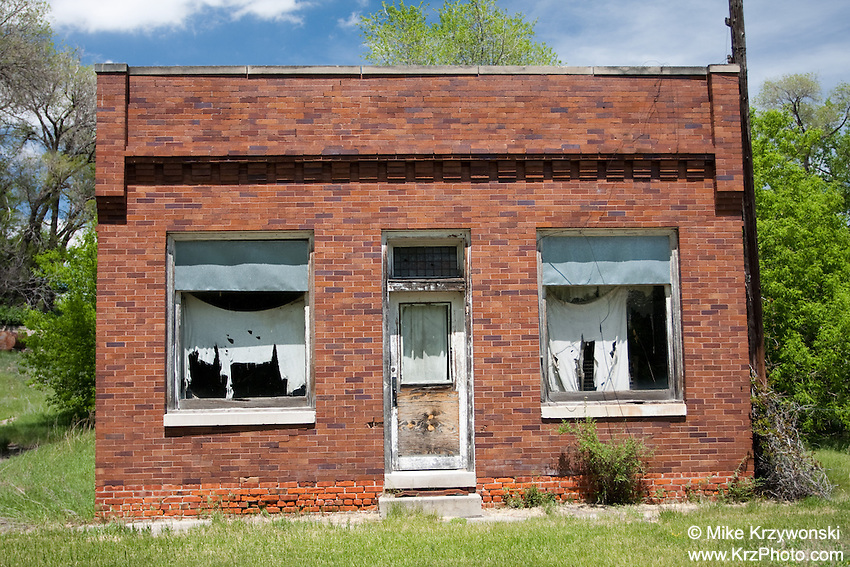 Abandoned Red Brick Building in Whitman, NE