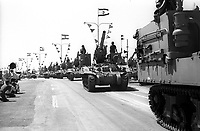 The 18th Independence Day parade<br /> Photo shows: A 155mm hovitzer cannon passing by<br /> .<br /> 25 APRIL 1966.<br /> <br />                     Photo by [010] Hadani Dan