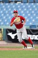 Jonathan Martin (2) of Felix-Leclerc High School in L'assomption, Quebec Canada playing for the Philadelphia Phillies scout team during the East Coast Pro Showcase on August 2, 2014 at NBT Bank Stadium in Syracuse, New York.  (Mike Janes/Four Seam Images)