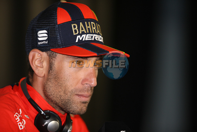 Stage winner Vincenzo Nibali (ITA) Bahrain-Merida press conference after Stage 20 of the 2019 Tour de France running 59.5km from Albertville to Val Thorens, France. 27th July 2019.<br /> Picture: Colin Flockton | Cyclefile<br /> All photos usage must carry mandatory copyright credit (© Cyclefile | Colin Flockton)