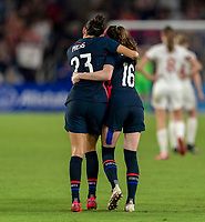 ORLANDO, FL - MARCH 05: Christen Press #23 and Rose Lavelle #16 of the United States celebrate during a game between England and USWNT at Exploria Stadium on March 05, 2020 in Orlando, Florida.