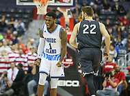 Washington, DC - March 11, 2018: Rhode Island Rams guard Jarvis Garrett (1) celebrates after making a three point shot during the Atlantic 10 championship game between Rhode Island and Davidson at  Capital One Arena in Washington, DC.   (Photo by Elliott Brown/Media Images International)
