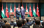 Turkish President Tayyip Erdogan and Palestinian President Mahmoud Abbas hold a joint press conference following their meeting in Ankara, Turkey, August 28, 2017. Photo by Osama Falah