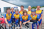 0013-0016.---------.Two Wheelers.------------.Signing on at the Tralee rugby club before the start of the hillclimb up the short mountain on Saturday afternoon were Tralee cycling club members L-R Liam Dowd,Paul Lynch,Colm Mannix,Thomas O'Flaherty,Sam Breen,Barry Murphy,Patrick Crean and Peter McGuinness.