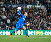 8th September 2017, Pride Park Stadium, Derby, England; EFL Championship football, Derby County versus Hull City; Hull City goalkeeper Allan McGregor throwing the ball out