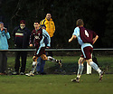 Dan Holman of Long Buckby celebrates scoring the third goal during the FA Carlsberg Vase 3rd round  match between Stotfold and Long Buckby at Roker Park, Stotfold on 4th December, 2010.© Kevin Coleman 2010.