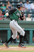 Infielder Bobby Haney (21) of the Augusta GreenJackets, Class A affiliate of the San Francisco Giants, in a game against the Greenville Drive on August 27, 2011, at Fluor Field at the West End in Greenville, South Carolina. Greenville defeated Augusta, 10-4. (Tom Priddy/Four Seam Images)