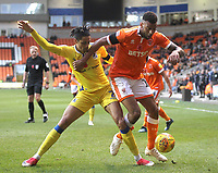 Blackpool's Curtis Tilt in action with Bristol Rovers' Daniel Leadbitter<br /> <br /> Photographer Mick Walker/CameraSport<br /> <br /> The EFL Sky Bet League One - Blackpool v Bristol Rovers - Saturday 3rd November 2018 - Bloomfield Road - Blackpool<br /> <br /> World Copyright © 2018 CameraSport. All rights reserved. 43 Linden Ave. Countesthorpe. Leicester. England. LE8 5PG - Tel: +44 (0) 116 277 4147 - admin@camerasport.com - www.camerasport.com