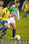 Three wise men. Kerry League midfielder David Conway gets away from South Tipperary League's Dwayne Burns with referee Gert Kruis in hot pursuit in the Oscar Traynor Cup match played under lights at Celtic Park on saturday.   Copyright Kerry's Eye 2008