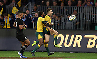 Nic White of the Wallabies celebrates after scoring a try during the Rugby Championship match between Australia and New Zealand at Optus Stadium in Perth, Australia on August 10, 2019 . Photo: Gary Day / Frozen In Motion