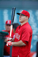 Mike Trout #27 of the Los Angeles Angels before a game against the Chicago White Sox at Angel Stadium on May 17, 2013 in Anaheim, California. (Larry Goren/Four Seam Images)