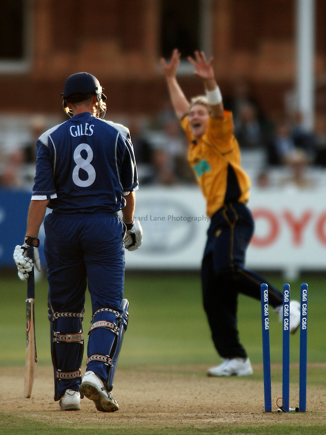 Photo: Glyn Thomas..Hampshire v Warwickshire. C&G Trophy Final..03/09/2005..Hampshire's Sean Ervine (R) celebrates taking the wicket of Ashley Giles.
