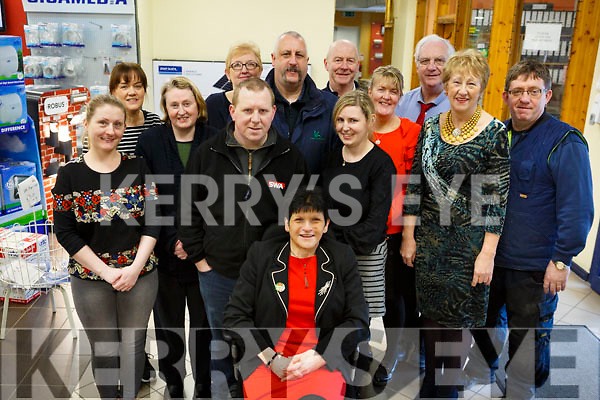 Bernadette McDonnell, seated front centre celebrating a special birthday with her collogues in Kellihers Electrical in Ballymullen l-r, Karen Sexton, Karen Cremins, Eileen Dennehy, John White, Dan Quirke, John Kennedy, Collette O'Gorman, Mary Bowler, Peter Stack, Angela O'Sullivan and Brendan O'Brien.