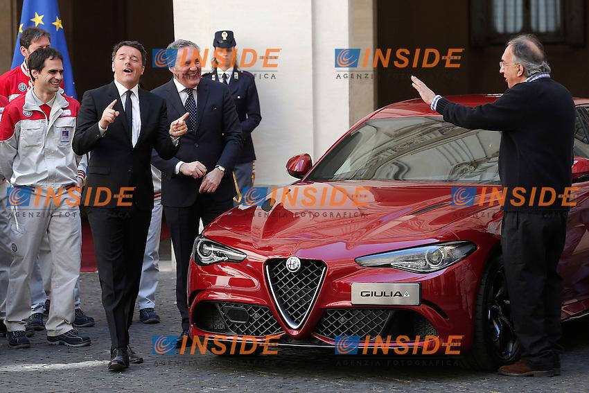 Matteo Renzi e Sergio Marchionne<br /> Roma 05-05-2016 Palazzo Chigi. Presentazione della Nuova Alfa Romeo Giulia.<br /> Rome 16th May 2016. Presentation of the new Giulia by Alfa Romeo.<br /> Photo Samantha Zucchi Insidefoto