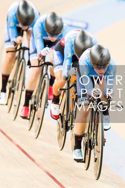 The team of Canada with Jasmin Duehring, Laura Brown, Annie Foreman-Mackey and Kirsti Lay competes in the Women's Team Pursuit - 1st Round as part of the 2017 UCI Track Cycling World Championships on 13 April 2017, in Hong Kong Velodrome, Hong Kong, China. Photo by Marcio Rodrigo Machado / Power Sport Images