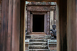 Angkorian temple Banteay Srei (late 10th century) 967.<br /> Doorway leading into Mandapa and central tower sanctuary.<br /> Banteay Srei temple is situated 20km north of Angkor, built during the reign of Rajendravarman by Yajnavaraha, one of his counsellors. In antiquity Isvarapura was a small city that grew up around the temple. Banteay Srei was dedicated to the worship of Shiva, the foundation stele describes the consecration of the linga Tribhuvanamahesvara (Lord of the three worlds) in 967.