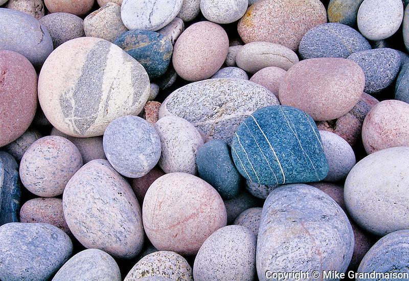 Rounded rocks at Marathon Beach<br /> Marathon<br /> Ontario<br /> Canada