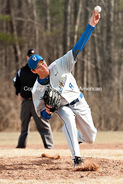 LITCHFIELD, CT-13 April 2015-041315EC02-  Gilbert's Cameron Goulet pitches against Litchfield Monday. Erin Covey Republican-American