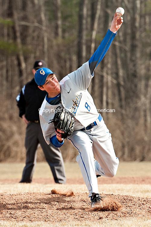 LITCHFIELD, CT-13 April 2015-041315EC02-  Gilbert's Cameron Goulet pitches against Litchfield Monday. Erin Covey Republican-American