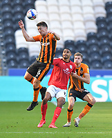 Hull City's Richard Smallwood gets to the ball first<br /> <br /> Photographer Dave Howarth/CameraSport<br /> <br /> The EFL Sky Bet League One - Hull City v Crewe Alexandra - Saturday 19th September 2020 - KCOM Stadium - Kingston upon Hull<br /> <br /> World Copyright © 2020 CameraSport. All rights reserved. 43 Linden Ave. Countesthorpe. Leicester. England. LE8 5PG - Tel: +44 (0) 116 277 4147 - admin@camerasport.com - www.camerasport.com