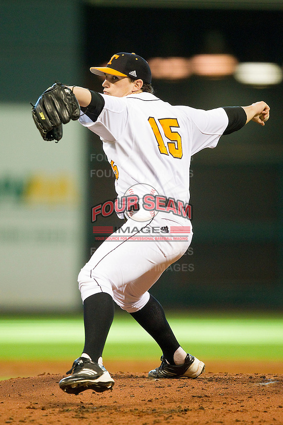 Tennessee Volunteers starting pitcher Zack Godley #15 in action against the Texas Longhorns at Minute Maid Park on March 3, 2012 in Houston, Texas.  The Volunteers defeated the Longhorns 5-4.  (Brian Westerholt/Four Seam Images)