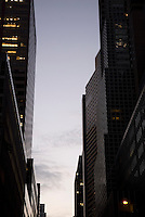 AVAILABLE FROM PLAINPICTURE FOR COMMERCIAL AND EDITORIAL LICENSING.  Please go to www.plainpicture.com and search for image # p5690207.<br /> <br /> Office Buildings and Sky in Midtown Manhattan at Dusk, New York City, New York State, USA