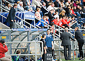 FALKIRK MANAGER STEVEN PRESSLEY GETS HIS INSTRUCTIONS TO HIS DUG OUT