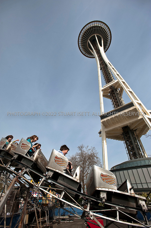 3/27/2010--Seattle, WA, USA..A plan to replace Seattle Center's outdated Fun Forest with a 44,000-square-foot exhibit space for famed glass artist Dale Chihuly has upset many Seattle parents who grew up with the park's old style games and rides...Located at the foot of the Space Needle, the privately-owned amusement park was originally part of the 1962 World's Fair. ..©2010 Stuart Isett. All rights reserved.