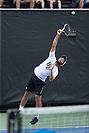 Petros Chrysochos of the Wake Forest Demon Deacons serves the ball during his match at #2 singles against the Texas A&M Aggies during the semifinals at the 2018 NCAA Men's Tennis Championship at the Wake Forest Tennis Center on May 21, 2018 in Winston-Salem, North Carolina. The Demon Deacons defeated the Aggies 4-3. (Brian Westerholt/Sports On Film)