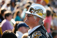 Jul 7, 2007; Hamilton, ON, CAN; A Hamilton Tiger-Cats fan waits for the start of the 2007 season home opener against the Toronto Argonauts at Ivor Wynne Stadium. The Argos defeated the Tiger-Cats 30-5. Mandatory Credit: Ron Scheffler, Special to the Spectator.