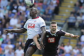 Bolton v Derby. SkyBet Championship. 8/8/15 <br /> <br /> Bolton's Emile Heskey and Derby's Jason Shackell, right.<br /> <br /> Credit: PHSP/Harry McGuire