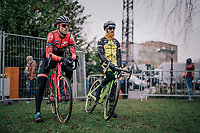 former CX World Champ turned fulltime roadie BOOM Lars (Ned/Roompot-Charles) dropping back into the dirt for this occasion; checking the U23-riders before checking the course himself<br /> <br /> Brussels Universities Cyclocross (BEL) 2019<br /> Elite Men's Race<br /> DVV Trofee<br /> &copy;kramon