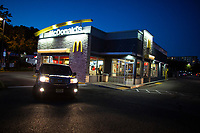 EDGEWATER, NJ - OCTOBER 21: The Sunset over a <br /> McDonald's Store on October 21, 2019 in  Edgewater, New Jersey. The Fast-food chain McDonald's will report it's third-quarter earnings tomorrow Tuesday October 22 (Photo by Kena Betancur/VIEWpress)
