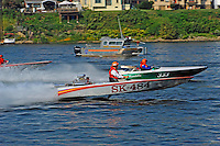 "Rob Frey, SK-484 (racing flatbottom ski boat) and Kevin Klosterman, 333 ""Miss Mandella"" (racing flatbottom ski boat)"