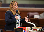Nevada Assembly Minority Leader Marilyn Kirkpatrick, D-North Las Vegas, speaks on the Assembly floor at the Legislative Building in Carson City, Nev., on Tuesday, April 21, 2015. <br /> Photo by Cathleen Allison